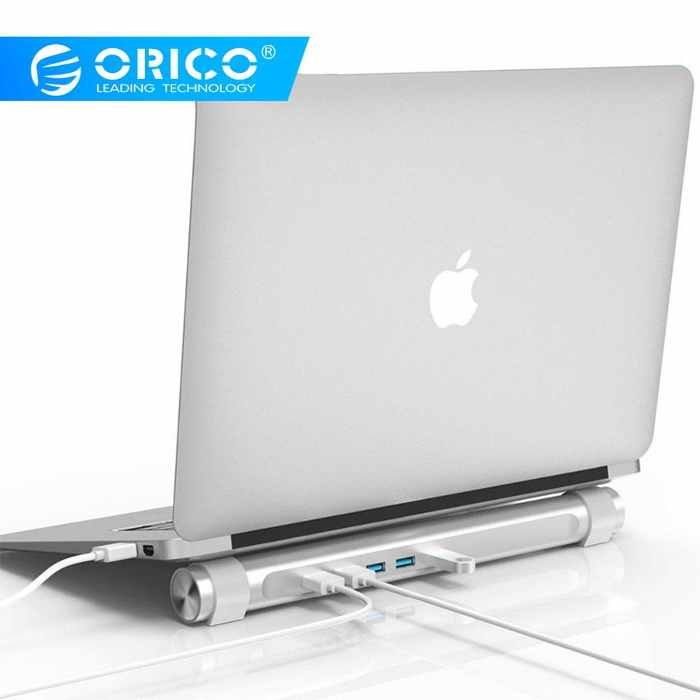 ORICO USB 3.0 HUB With Laptop Holder Function ABS Round 4 Ports HUB For Apple Laptop MAC Perfectly Silver USB Splitter