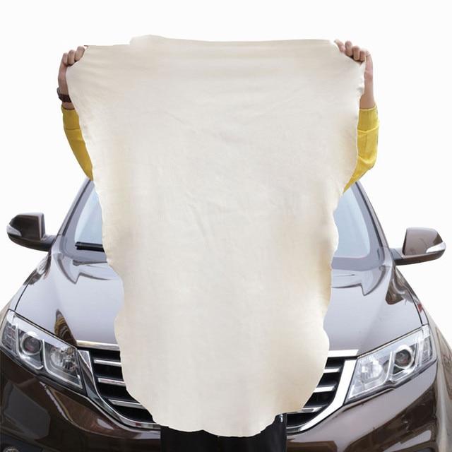 1 unidadeselástico Natural Shammy gamuza cuero coche limpieza toallas Irregular forma libre secado lavado cuidado paño pulido 45x60cm