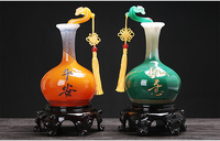LARGE # 2p 2019 office home efficacious Talisman Protection Money Drawing RUYI Vase FENG SHUI crystal Sculpture ART statue