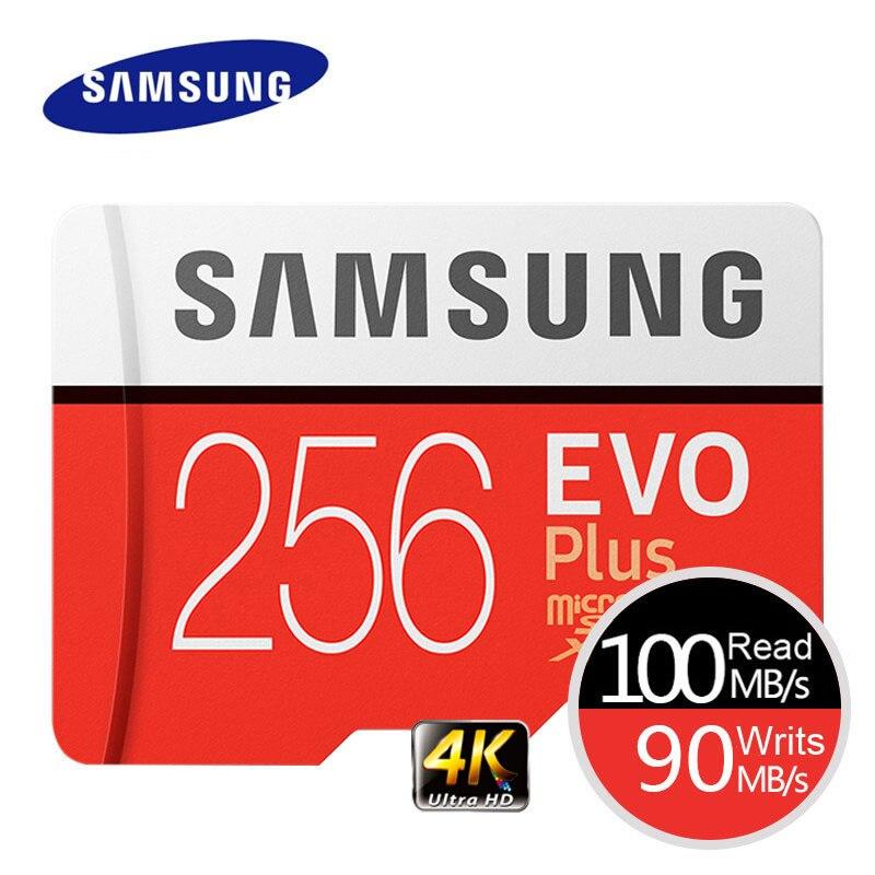 Cartão De Memória SAMSUNG EVO Mais 4K Ultra HD Micro SD Cartão MicroSD de 256GB 128G 64GB Class10 c10 UHS-I Trans Flash Cartão MicroSD