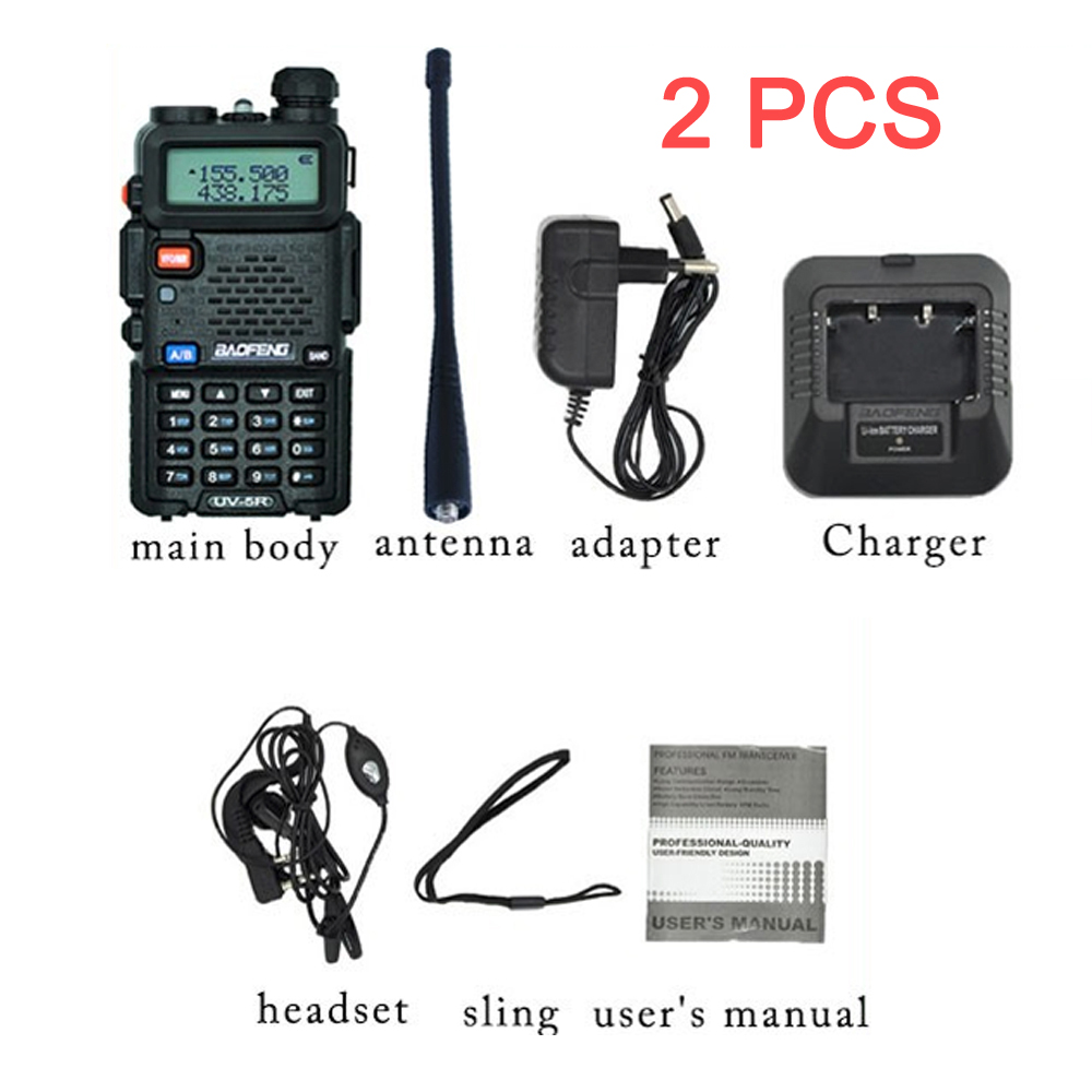 2PCS Baofeng UV 5R Walkie Talkie 10 KM Two Way Radio UV 5R Radio Comunicador Hunting