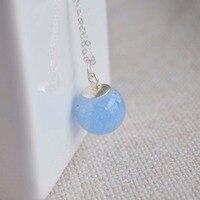 Antarctic Love Blue Luminous Stone Glow In The Dark Water 925 Sterling Silver Chain Statement Choker