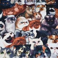 Cats Thiết Kế In Kỹ Thuật Số Stretch Satin Vải Thời Trang Polyester Vải May Phụ Nữ Ăn Mặc Tissu au Mét Nguyên Liệu TỰ LÀM
