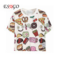 Free Shipping 2016 New Women Casual Fast Food Print T-Shirt Crop Top One Size In White/Black