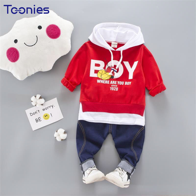 2018 High Quality Long Sleeved 2pcs Boys Hoodies Suits Hooded Sweatshirt+ Pants Letter Baby Boy Clothes Spring Cotton Kids Set