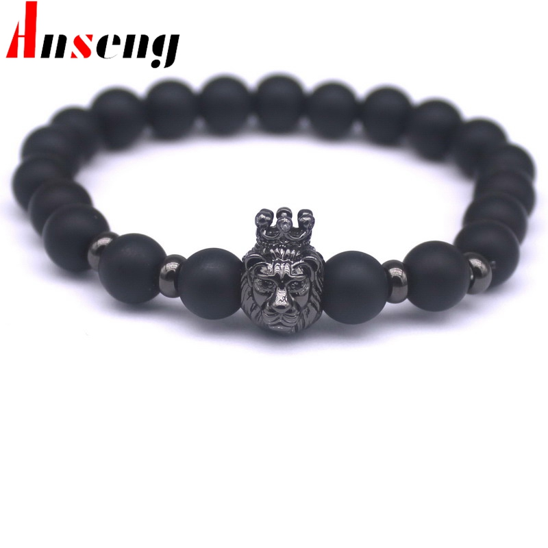 2017 New Fashion Black Stone Charm Men Bracelets Popular Brand Macrame Badge Pendant Chain Vintage Beads Bracelets Jewelry .