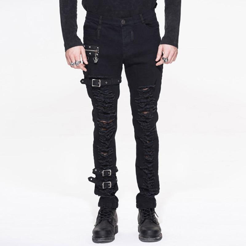 Punk Rock Men Jeans Caual Long Pants Holes Metal Pencil Pants Personality Trousers Black Jeans Performance Costume