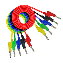 5pcs 4mm Stackable Banana Plug Male To Crocodile Alligator Clip Test Probe Lead Wire Cable Double Ended Silicone New