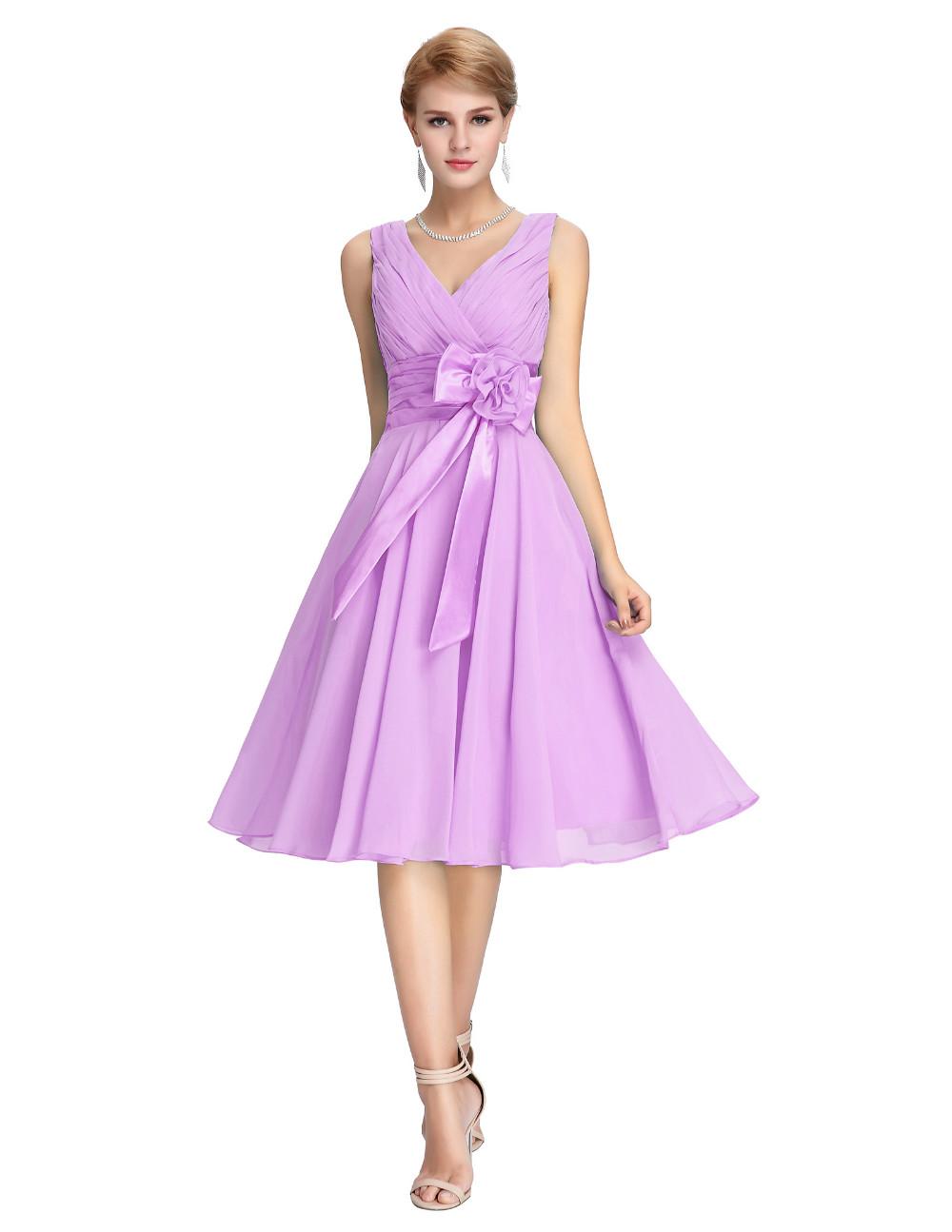 HTB1eAL_MVXXXXamXXXXq6xXFXXXuKnee Length Short Chiffon Blue Dress