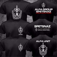 New Russian Spetsnaz Alfa Alpha Unit Counter Terrorist Special Unit Forces T shirt 2 Side Black O Neck Tshirt Casual Funny Shirt