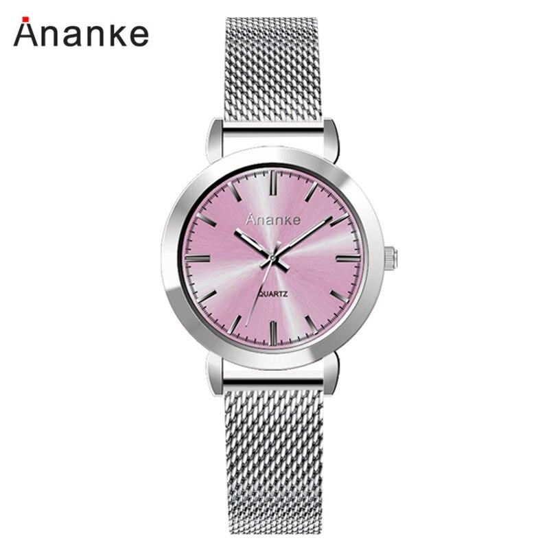 Ananke Quartz Watch Small Dial Women Watches Stainless Steel Mesh Elegant Slim Ladies Wristwatches Female Clock