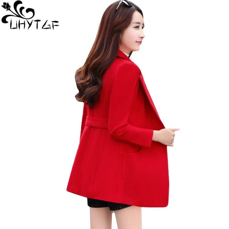 UHYTGF Korean Women Autumn Winter Wool Coats Fashion Elegant Ladies Short Outerwear Lapel Double-breasted Slim Female Jacket 136