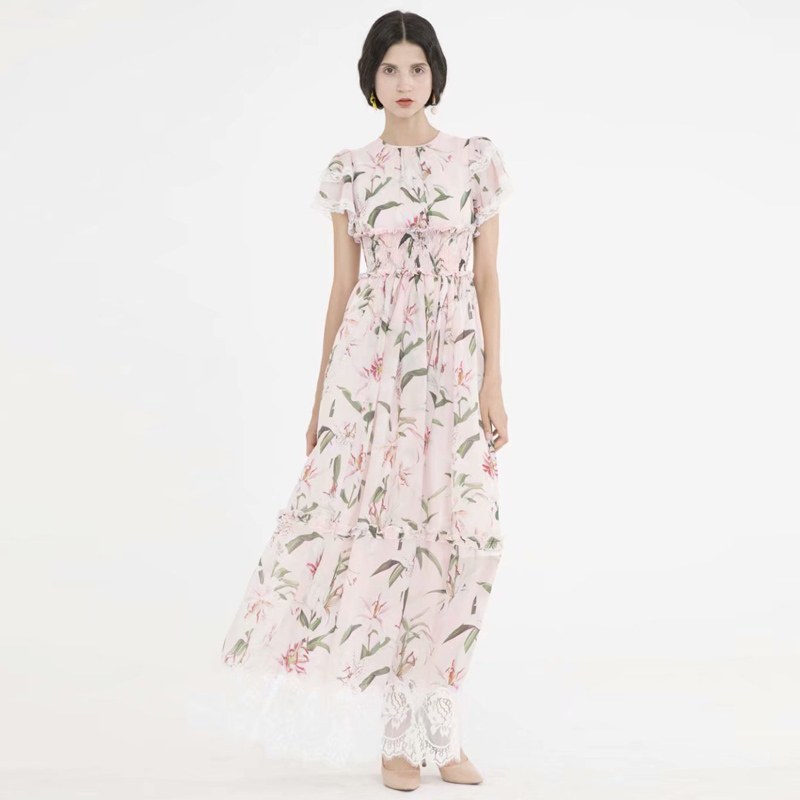 Robe longue Maxi grande taille nouvelle mode femme bohème plage Sexy ébouriffée Vintage élégant Chic imprimé fleur dentelle robes en mousseline de soie
