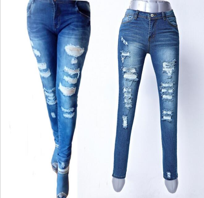 Women Stretch Cotton Skinny Pencil Pants Jeans Fashion High Waist Distressed Ripped Denim Toursers Plus Size Hole