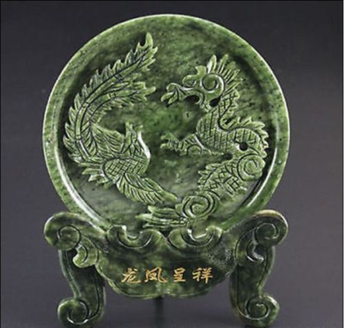 Chinese 100% Natural Jade Handwork Carved Dragon Phoenix Statue