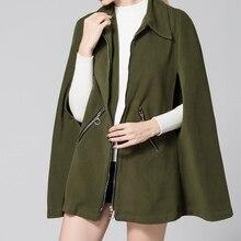 2016 Women Wool Blends Sexy Batwing Sleeve Turn Down Collar Jacket Ladies Zippers Solid Long Cloak Outerwear Coats
