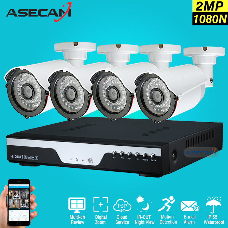 New 4ch HD 1080p Surveillance Kit CCTV DVR P2P Video Recorder AHD indoor White Bullet 2mp Security Camera System Email Alarm