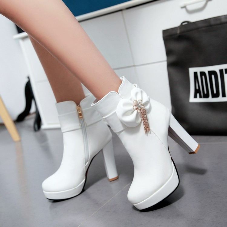 15_2016 Autumn Korean Womens Pink Dress Booties Shoes Princess Bow High Heels Black And White Platform Ankle Boots For Winter