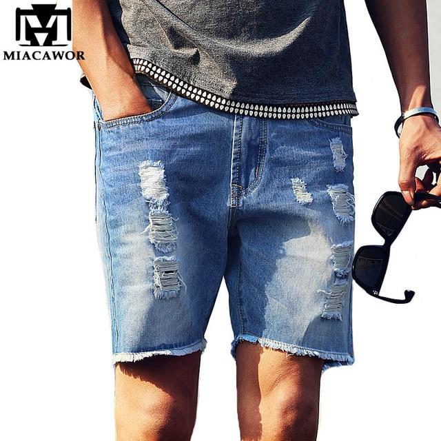 New 2016 Europe Style Men Jeans Shorts Summer Hole Shorts Homme ...