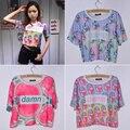 Mujeres del verano de Harajuku Digital Sandía Helado de Leche Botella Crop Top Carrusel Kawaii Girls Tees Short T-shirt