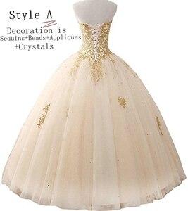 Image 2 - Angelsbridep GOLD Appliques บอลชุด Quinceanera 2020 ประกายคริสตัล Tulle ความยาวหวาน 16 Dress Debutante Gowns