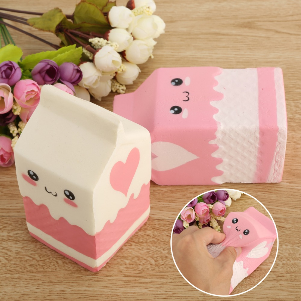 Kawaii Soft Squishy Charms Milk Bag Toy Slow Rising for Children Adults Relieves Stress Anxiety Cabinet Decor Anti Stress Toys stress anxiety