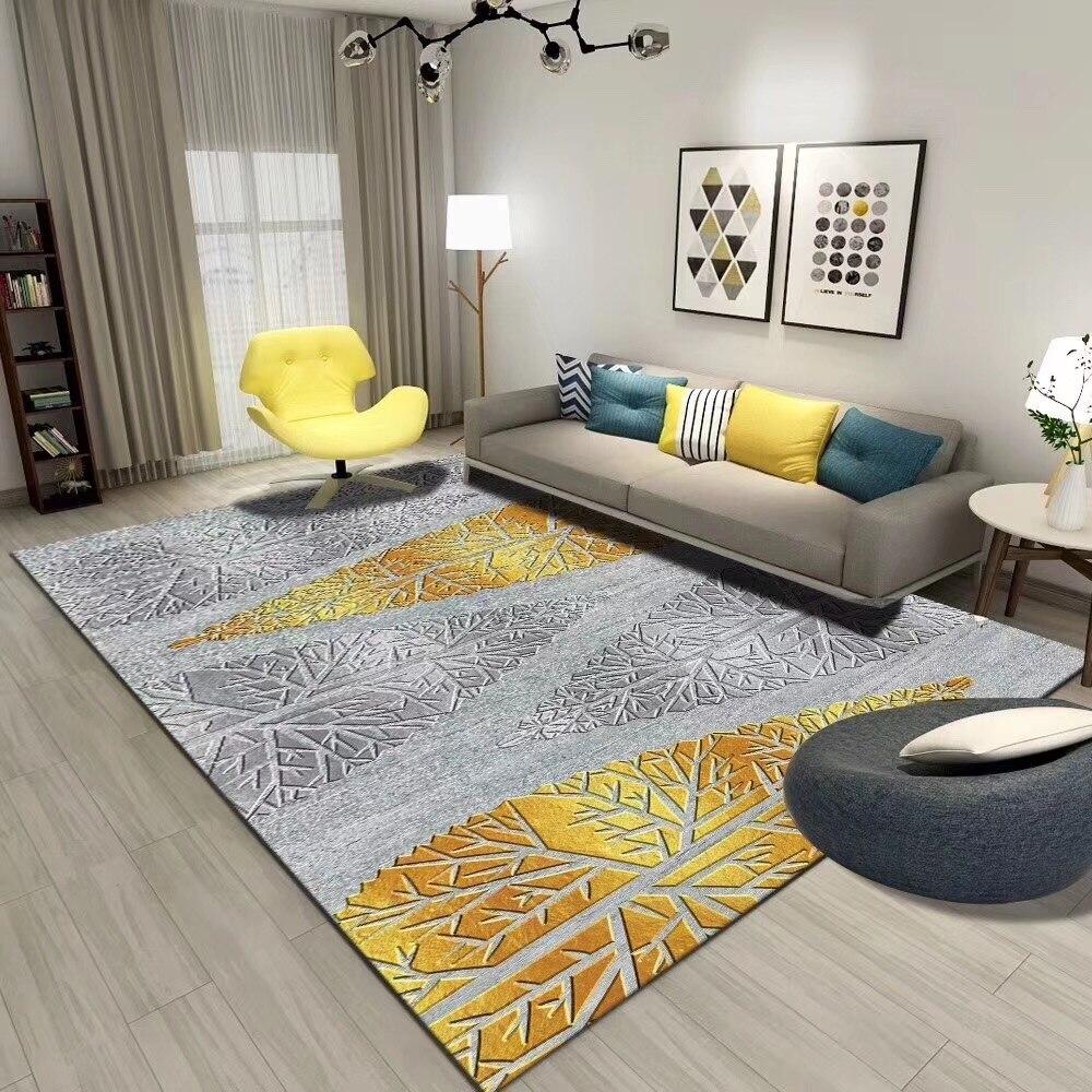 Us 34 5 25 Off Modern European Gold Color Carpet Living Room Floor Mat Coffee Table Bedroom Bedside Mat Printed Velvet 140x200cm Non Slip Rug In Mat