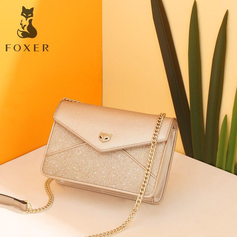 FOXER Brand Girls Gold Chains Message Bag Chic Women Playful Pacthwork Crossbody Bags Female Sequin Flap