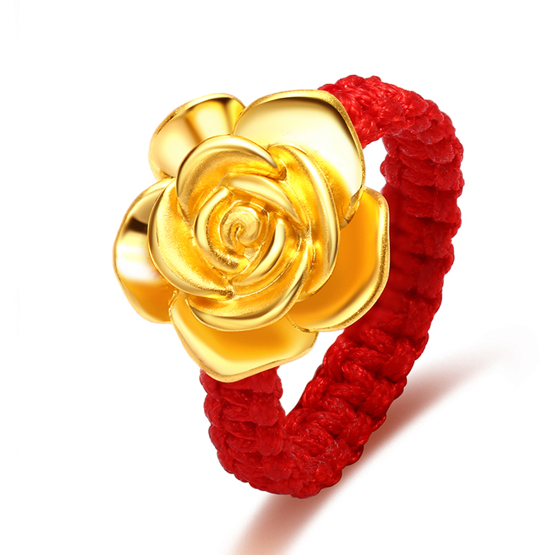 New Pure 999 24K Yellow Gold 3D Charming Rose Flower Woman's Lucky Knitted Ring Gift For Lover