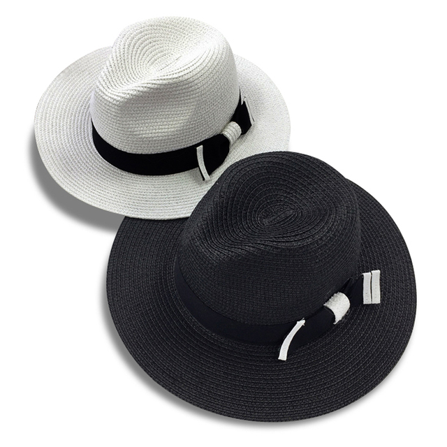 54901dab dropshippingHot sale summer bowknot fashion sun hats for women wide brim  black white straw hat beach vacation grils panama hat