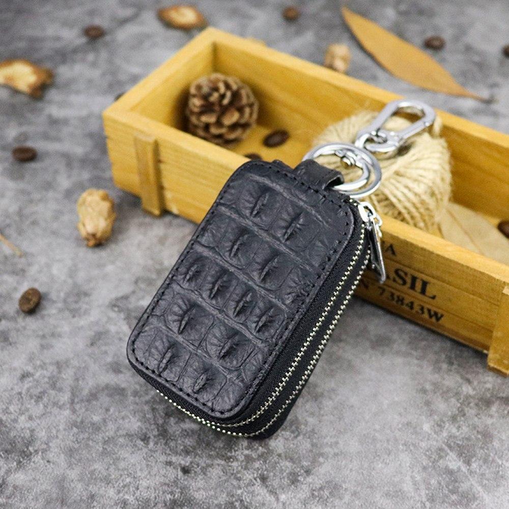 New Genuine Leather Key Wallet Men Women Double Zipper Crocodile Pattern Key Case Multi-function Car Key Case One-pack Dual-use