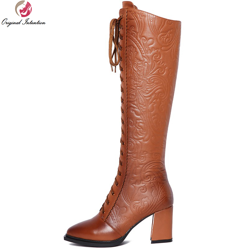 Original Intention Women Knee-High Boots Fashion Pointed Toe Square Heels Boots High-quality Black Brown Shoes Woman Size 4-9 original intention high quality women ankle boots pointed toe square heels boots fashion black brown shoes woman us size 4 10 5