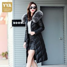 2019 Winter Plus Long Down Jacket Female Slim Luxury Leather Jacket With Fur Women Warm Hooded Womens Coats Large Size XXXL 5XL(China)