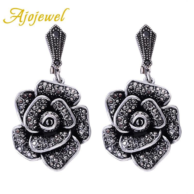 Ajojewel Full Rhinestones Black Flower Earrings Big European Womens Vintage Jewelry Wholesale