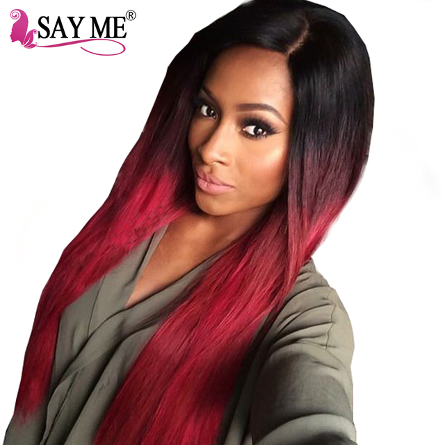 SAY ME Ombre Brazilian Hair Straight 1b/Burgundy 99j Human Hair Weave Bundles Two Tone Colored Non Remy Red Hair Weft Extensions