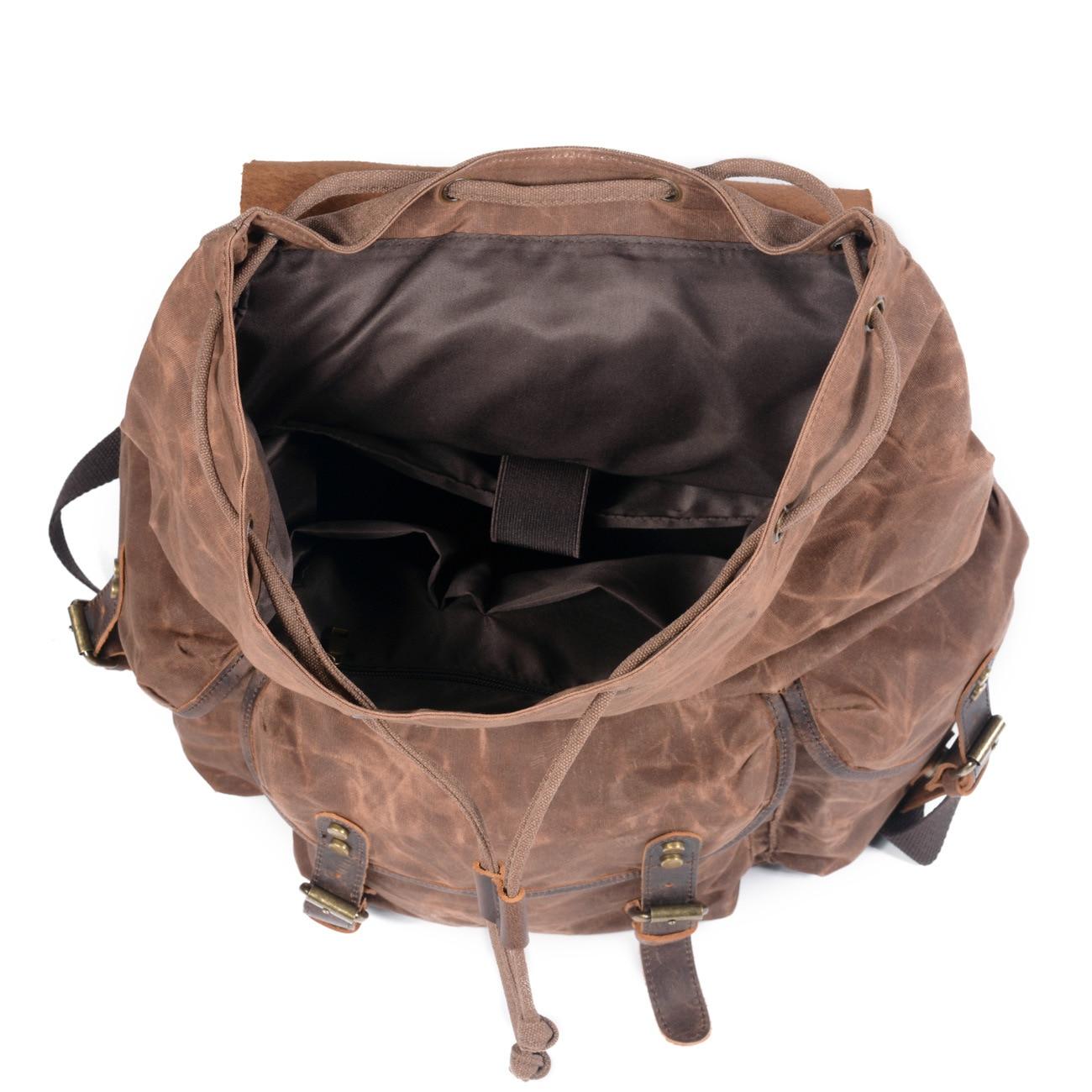 Toile imperméable à l'huile de cire et sac à dos en cuir véritable hommes voyage Vintage sac à dos à cordon grande capacité chaîne pochette d'ordinateur - 3