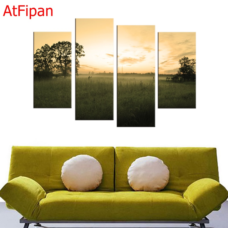Fashion Frameless 4 Panel Wall Art Oil Painting On Canvas Pastoral ...