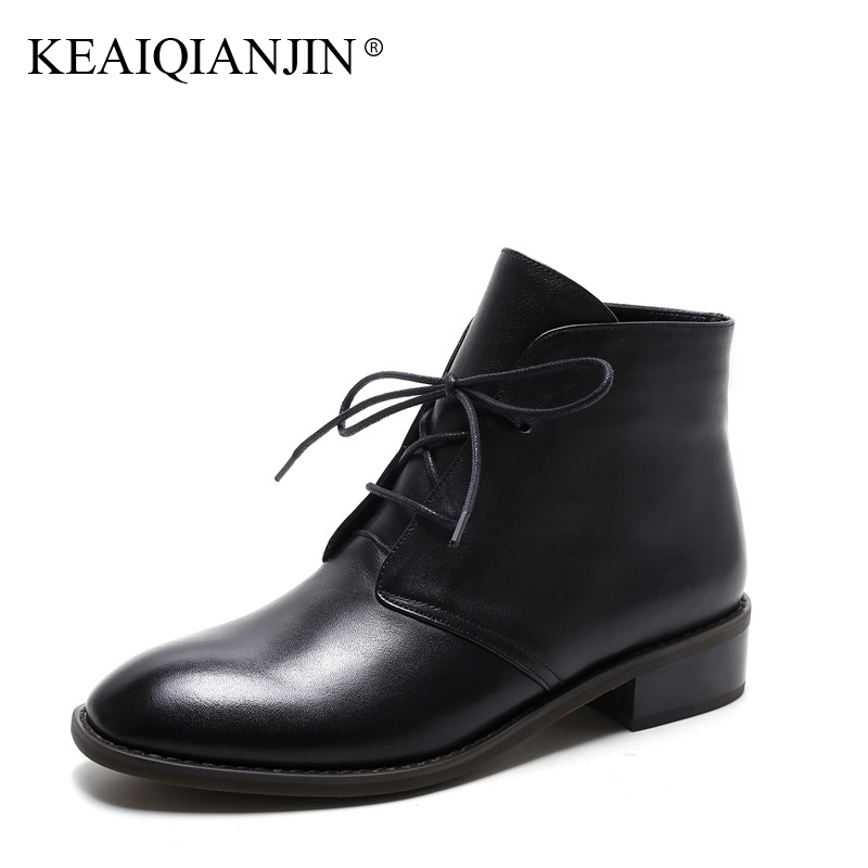 KEAIQIANJIN Woman Genuine Leather Ankle Boots Plush Plus Size 33 - 42 Black Lace-Up Plush Boots Autumn Winter Fashion Shoes 2017 odetina fashion genuine leather ankle boots flat woman round toe platform lace up boots autumn winter casual shoes big size 43