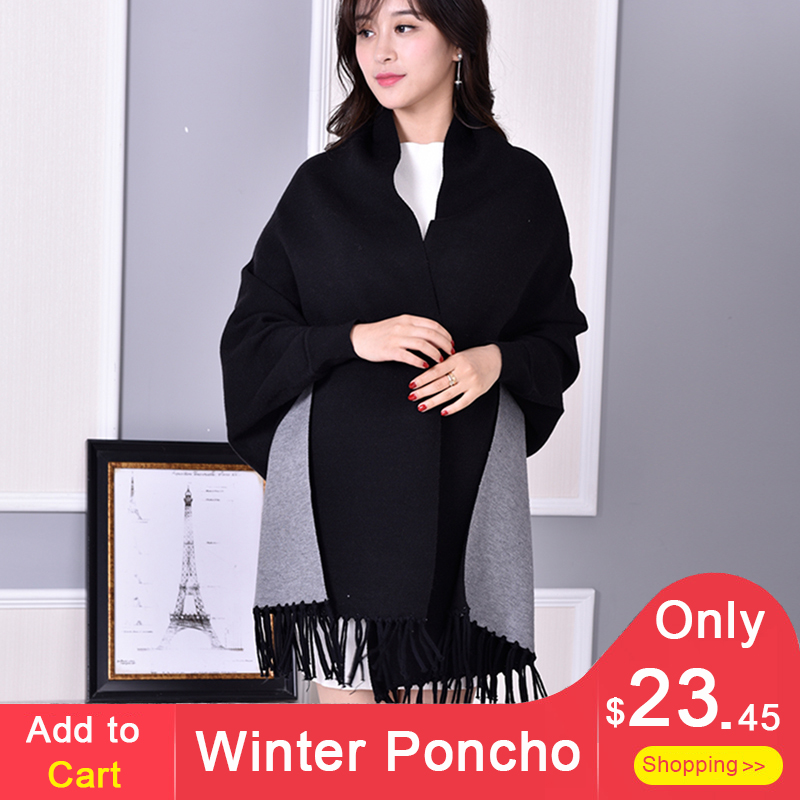 Women Winter Poncho Thick Sleeve Shawls and Wraps for Ladies Pashmina Shawl  Luxury Scarf Coat Warm