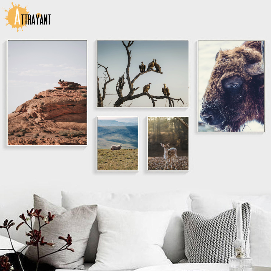 Deer Yak Sheep Vulture Landscape Wall Art Canvas Painting Nordic Posters And Prints Wall Pictures For Living Room Home Decor in Painting Calligraphy from Home Garden
