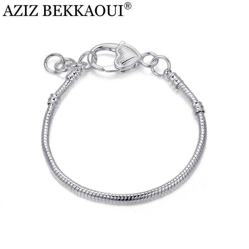 AZIZ Nouvelle Arrivée Serpent Chaîne Bracelet Diy Style Argent Plaqué Coeur  Homard Fermoir Vis Bracelets Fit Européen Diy Perles Charmes 46e6cdfa596