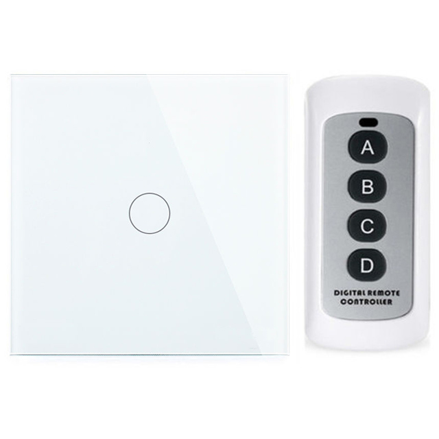 EU/UK Standard Crystal glass panel 1 gang remote control wall touch switch screen light smart home led 220v home automation wall light switch eu standard 220v 3gang white crystal glass panel remote control touch light switch with led