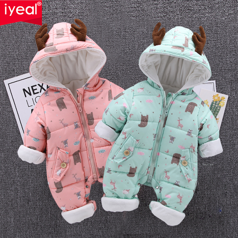 IYEAL Cartoon Deer Hooded Baby Romper Winter Costume Baby Boys Girls Clothes Kids Jacket Warm Jumpsuit Infant Thick Coat Outfit free shipping winter newborn infant baby clothes baby boys girls thick warm cartoon animal hoodie rompers jumpsuit outfit yl