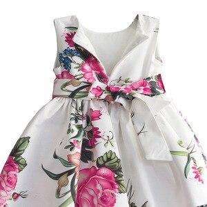 Image 4 - Bebek kız prenses elbise çiçek baskı düğün parti elbiseler çocuk giysileri robe fille vetement enfant fille 2 7T
