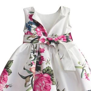 Image 4 - baby girls princess dress floral print wedding party dresses children clothes robe fille vetement enfant fille 2 7T