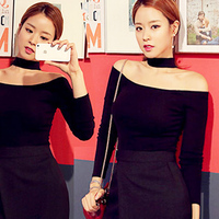 Autumn And Winter Thick Shoulder Strapless T Shirt Female Korean Slim Was Thin Neck Long Sleeved