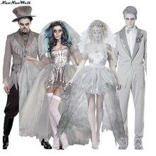 Couples Ghost Kant Schouder Mouwen Spookachtige Bruid Scary Kostuum Halloween Party Volwassen Mannen Vrouw Jurk Doom Ghost Bruid Kostuums