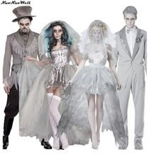 Couples Ghost Lace Shoulder Sleeves Ghostly Bride Scary Costume Halloween Party Adult Men Woman Dress Doom Ghost Bride Costumes