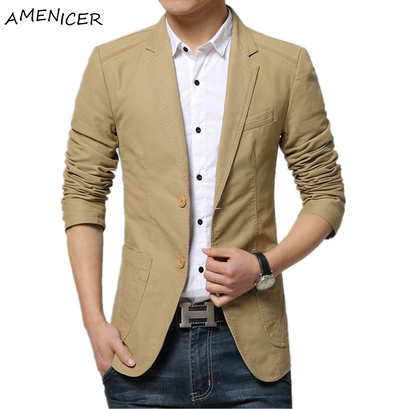 2016 men fashion blazers masculino slim fit veste costume homme cotton khaki coffee black casual. Black Bedroom Furniture Sets. Home Design Ideas