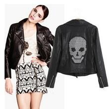 Skull Leather Jacket Women PU Leather Black Jackets 2016 New Rhinestones Embellished Ladies Motorcycle Jacket Free Shipping